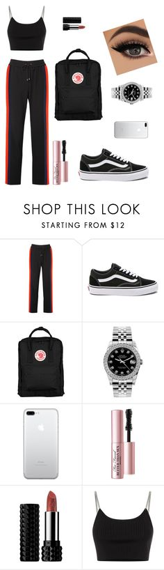 """""""Lazy Day"""" by evelynnn-nn on Polyvore featuring Kenzo, Vans, Fjällräven, Rolex, Too Faced Cosmetics, Kat Von D and Alexander Wang"""