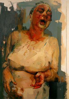 """Pause"" - Jenny Saville (English, b. 1970) UK {contemporary evocative figurative #expressionist artist semi-nude female standing woman grunge painting NSFW}"