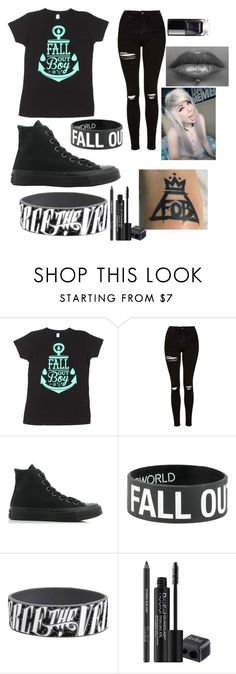 """""""fall out boy <3"""" by emoisforever ❤ liked on Polyvore featuring Topshop, Converse and Rodial"""