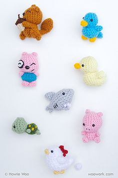 Fridge Critters Crocheted, via Flickr.  I would LOVE to find these patterns, they are darling.