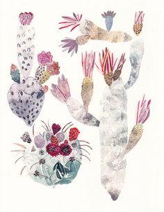 Etsy の Cactus Trio  Archival Print by unitedthread