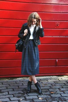 Self Made Tartan Skirt, New Look Shirt, Mr Shoes Boots, Primark Rucksack, Warehouse Leather Jacker