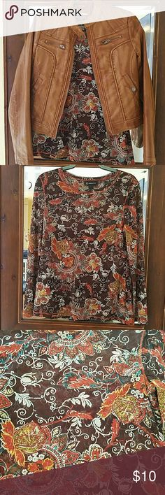 Long Sleeve 100% Nylon Printed T-shirt Floral print, long sleeve, nylon T-shirt, sheer. XL can fit M/L too. Looks great under this faux leather jacket  (size M, fits M/L). Jacket in separate listing. Both in new condition. INC International Concepts Tops Tees - Long Sleeve