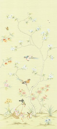 Lushan on silk. Gracie Wallpaper, Wallpaper Stencil, Chinoiserie Wallpaper, Flower Wallpaper, Cool Wallpaper, Wallpaper Panels, Oriental Wallpaper, Handmade Wallpaper, Silk Art