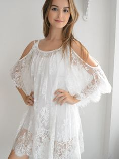 Gorgeous Lace! Scoop Neck Cut Out Shoulder Lace See-Through Ladylike Dress For Women #Romantic #White_Lace #Cold_Shoulder #Summer_Dresses