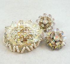 Vtg Vendome Lrg Borealis Crystal Pearl Ruffled Silver Tone Brooch & Earrings Set #Vendome