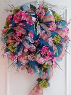 Beautiful turquoise deco mesh wreath with hot by WredWrockWreaths, $135.00
