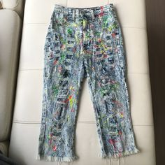 Fab Fun Paint Splatter Denim Capri's iLove these but they no longer fit me... Not Asos, purchased @ a local boutique... Still in great condition, has a lot of life. Size 5 but fits more like a 4 ASOS Pants Capris