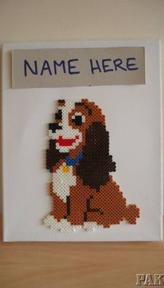 Personalised Disney Lady Canvas Wall Art perler beads by karen3367