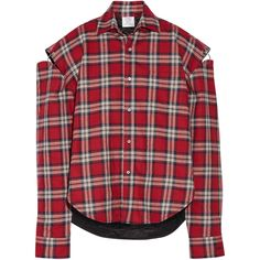 Vetements Oversized cutout plaid cotton-flannel shirt (6,550 GTQ) ❤ liked on Polyvore featuring tops, flannel shirts, red flannel shirt, oversized flannel shirt, plaid shirts and red shirt
