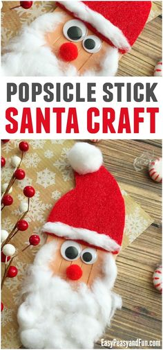 Craft Sticks Santa Craft Christmas Crafts for Kids is part of Cute Kids Crafts Christmas Time for another jolly craft! Today we are showing you how you can easily make a craft sticks Santa craft T - Childrens Christmas Crafts, Santa Crafts, Christmas Crafts For Kids To Make, Preschool Christmas, Noel Christmas, Christmas Activities, Craft Stick Crafts, Preschool Crafts, Christmas Themes