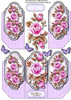 A lovely  tri card with beautiful Lilac roses has one greeting tag and  a blank one