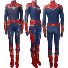 Carol Danvers Cosplay Costume PU Leather Full Set X/'mas Party Captain Marvel Ms