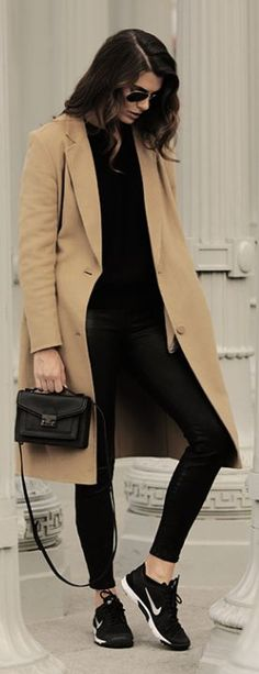 Black Leather Pants and Camel Coat | cynthia reccord