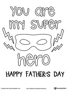 Fathers Day Card Superhero Mask Coloring WorksheetsPreschool
