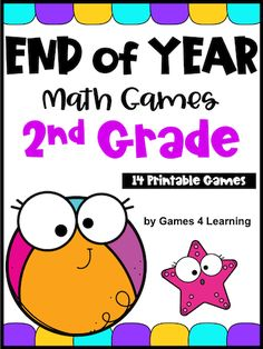 End of the Year Math Games Second Grade: Summer Packet Activities Third Grade Math Games, Place Value Games, Subtraction Games, Addition Games, Math About Me, Number Games, Math Concepts, End Of Year, Math Centers