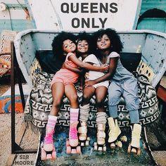 Happy girls on rollerskates My Black Is Beautiful, Beautiful Babies, Beautiful People, Beautiful Children, Black Girls Rock, Black Girl Magic, Curly Hair Styles, Natural Hair Styles, Pelo Natural