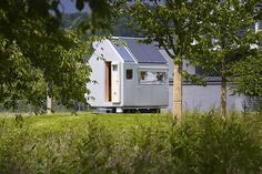 The Diogene is a less than 100-square-foot tiny home for one person designed by Italian architect Renzo Piano at the Vitra Campus in Weil-am-Rhein, Germany.