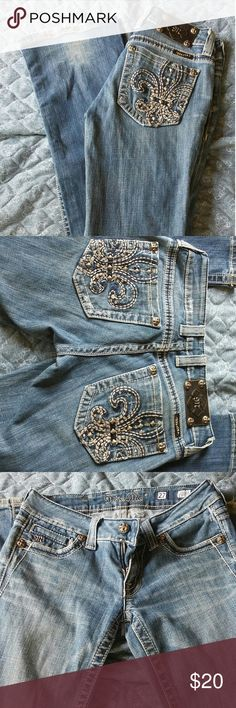 Miss Me Jeans Medium wash, bootcut. Wear on the bottom as shown in the first picture. Miss Me Jeans Boot Cut