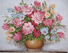 """Completed Cross Stitch 100% Hand-made Design count: 210sts wide X 176sts high  Fabric Size: 59cm X 50cm / Inch: 23"""" X 19""""         Fabric: 11-count white aida"""