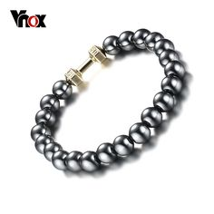 Mens Health Energy Bracelet Fashion Powerful Magnetic Hematite Therapy 8MM Beads Bracelets Jewelry