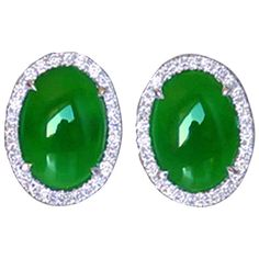Natural Jade Diamond Gold Earrings   From a unique collection of vintage stud earrings at https://www.1stdibs.com/jewelry/earrings/stud-earrings/