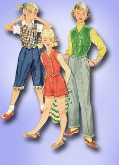 1950s Vintage Peddle Pushers & Weskit 1952 Simplicity Vtg Sewing Pattern Sz 14 #Simplicity #PeddlePushers