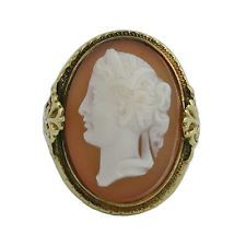 Victorian 14K Gold Hard Stone Carved Cameo Ring