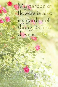My garden of flowers is also my garden of thoughts and dreams