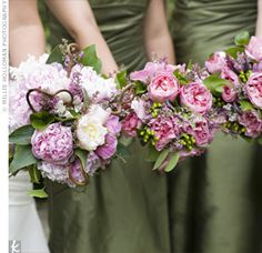 This bride opted for locally grown flowers for her darling bouquet featuring pink peonies, sprigs of curled grapevine, and heather and chose pink garden roses, pink heather, green hypericum berries, and fiddlehead ferns for her bridesmaids' bouquets.