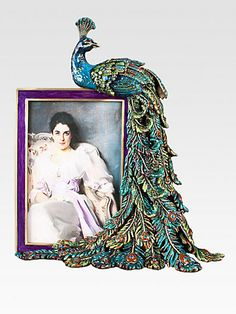 jay strongwater peacock feather frame hand crafted swarovski crystal embellishment cast in