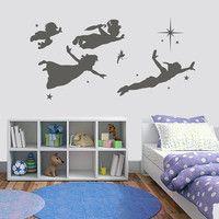 Vinyl wall decal - Disney Peter Pan Flying Scene