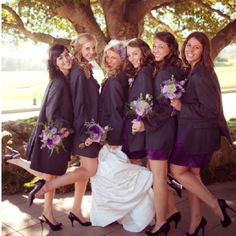 Bridesmaids in groom's jackets
