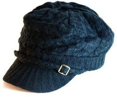 #Womens #Hand Made Cable Knitted Short Soft Trendy 1 inch Visor Cab Driver Newsboy Hat with Side Wooden Buttons available in Knitted black, brown, white, gray, teal, burgundy and knitted mustard #yellow   super cute!   http://amzn.to/Hlxt0C