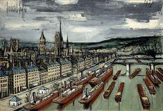 """16 - €331,526. Bernard Buffet (1928-1999),""""Rouen. Bateaux de commerce et péniches"""", 1972, oil on canvas, signed and dated, 89 x 130 cm. Aguttes, sold on 2 June 2015. #Rouen #Buffet #ModernArt #Bateaux #Port"""