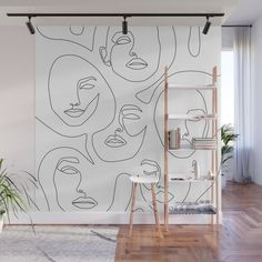 With our Wall Murals you can cover an entire wall with a rad design just line up the panels and stick them on. Theyre easy to peel off too leav Bedroom Wall, Bedroom Decor, Wall Design, House Design, Design Design, Graphic Design, Portrait Wall, Mural Wall Art, Creative Walls