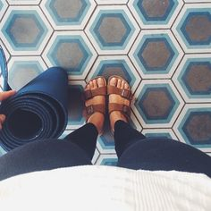 Funny that this pic was to show off the shoes... But I like the tile more lol