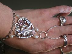 Silver Heart Pearl Bridal Wedding Slave By Themysticaloasisglow, $25.00