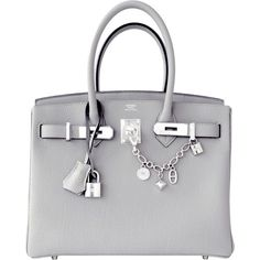 Pre-Owned Hermes Gris Mouette New Grey 30cm Togo Birkin Bag Palladium... (63.280 BRL) ❤ liked on Polyvore featuring bags, handbags, gris mouette, grey handbags, multicolor handbags, pre owned handbags, preowned handbags and colorful handbags