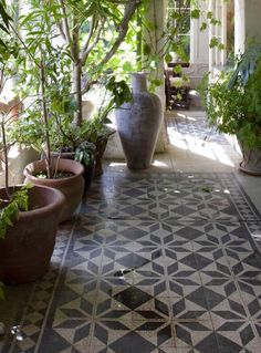 Decorative Patio Tiles Entrancing Love All The White With Warm Wood Accents And Simple Palmslove Decorating Inspiration