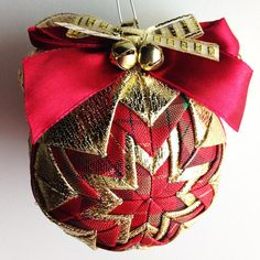 Golden Christmas 2  Handmade Quilted Ornament by Traceritops, $18.00
