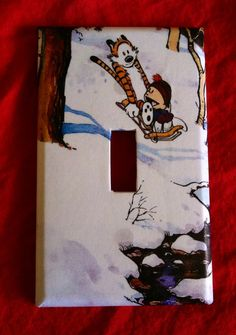 """Calvin and Hobbes """"snow ride"""" light switch cover"""