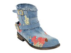 (4) Womens Boot Low Mimi Denim Embellished Flower Print & Crystals - Philipp Plein 2013 Spring Summer Denim Shoes Top Footwear Picks