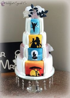 Hidden Disney theme on the back of an elegant 4 tier wedding cake. Airbrushed then silhouettes were hand painted onto the cake. Wedding Cake Fresh Flowers, Floral Wedding Cakes, Elegant Wedding Cakes, Beautiful Wedding Cakes, Beautiful Cakes, Elegant Cakes, Trendy Wedding, Wedding Ideas, 1920s Wedding