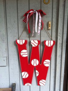 Hand Painted Baseball Door Hanger by ThePaintDiva on Etsy, $25.00