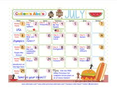 Cullen's Abc's July, 2012 Calendar to be used as a guide to weekly themes in the FREE Online Preschool!    http://online-preschool.cullensabcs.com/    www.cullensabcs.com