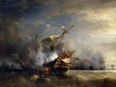 Naval Combat off Cape Lizard in Cornwall, Theodore Gudin