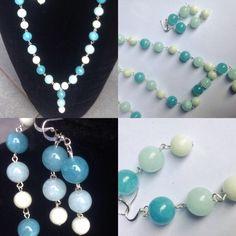 #parure #metallica con #agate in color #bianco #azzurro e #blu. #fattaamano.  #necklace with #metallic #wire and #white and #light and #dark #blue. #handmade  #conjunto #metalico con #agatas #blanca y #azul #claro y #oscuro. #hechoamanos.