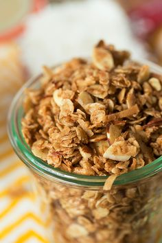 Coconut Vanilla Granola | tablefortwoblog.com Instead of brown sugar use more pure maple syrup & unsweetened coconut instead of the sweet coconut