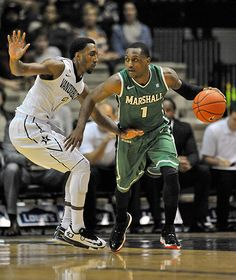 Marshall guard Kareem Canty drives against Vanderbilt's Eric McClellan during the Herd's loss in Nashville. Usa Today Sports, Nashville, Basketball Court, Motivation, Classic, Derby, Classic Books, Inspiration